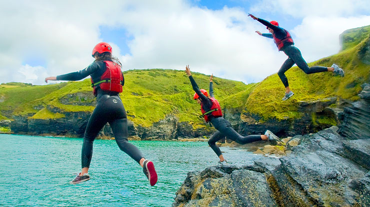 Coasteering near Bude in Cornwall